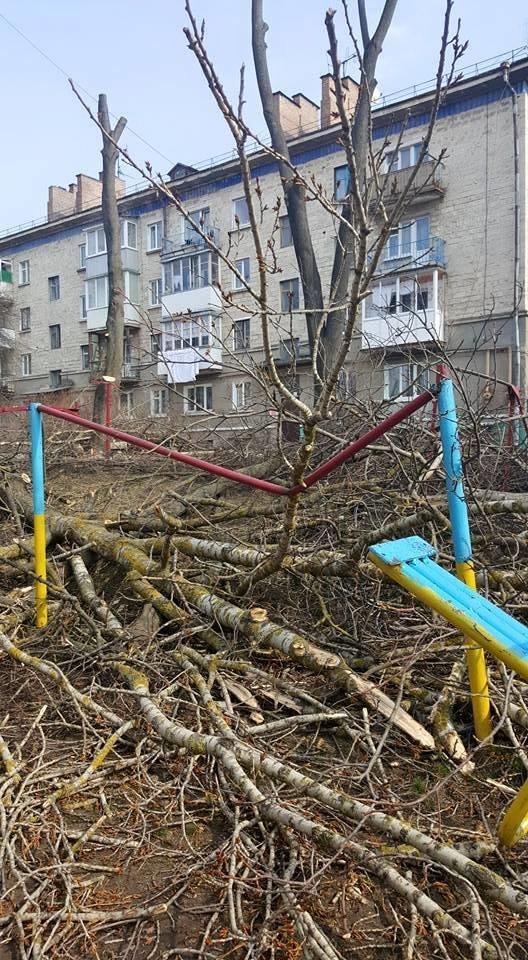 У Тернополі працівники ЖЕКу під час обрізки дерев понищили качелю та турнік (Фото), фото-2