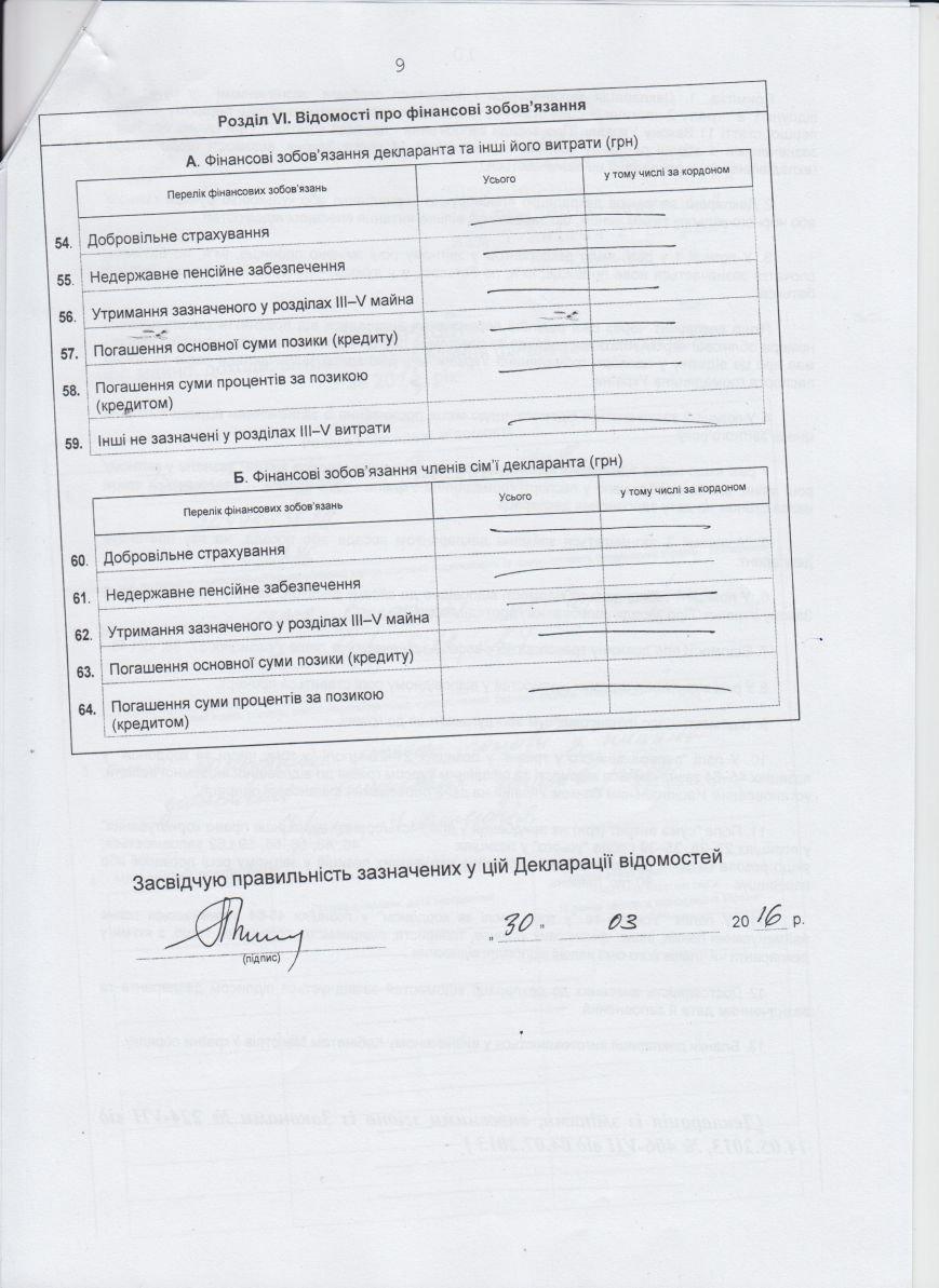 Декларации о доходах городского головы и заместителей (фото) - фото 5