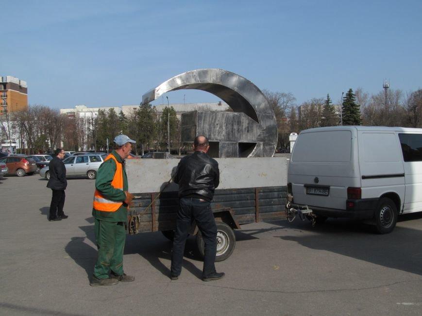 В Кременчуге сняли «серп и молот» на площади Независимости (фото и видео), фото-6