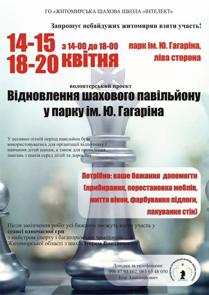 Житомирян закликають долучитися до відновлення шахового павільйону у парку, фото-1