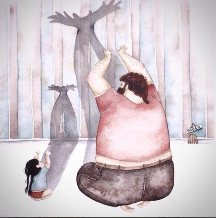 Трогательные рисунки из жизни папы и дочки прославили николаевскую художницу на весь мир (фото) - фото 1