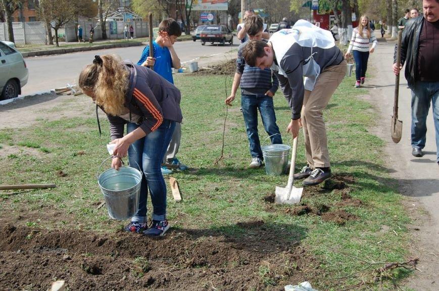 В Первомайске школьники и активисты провели субботник и высадку деревьев (фото) (фото) - фото 2