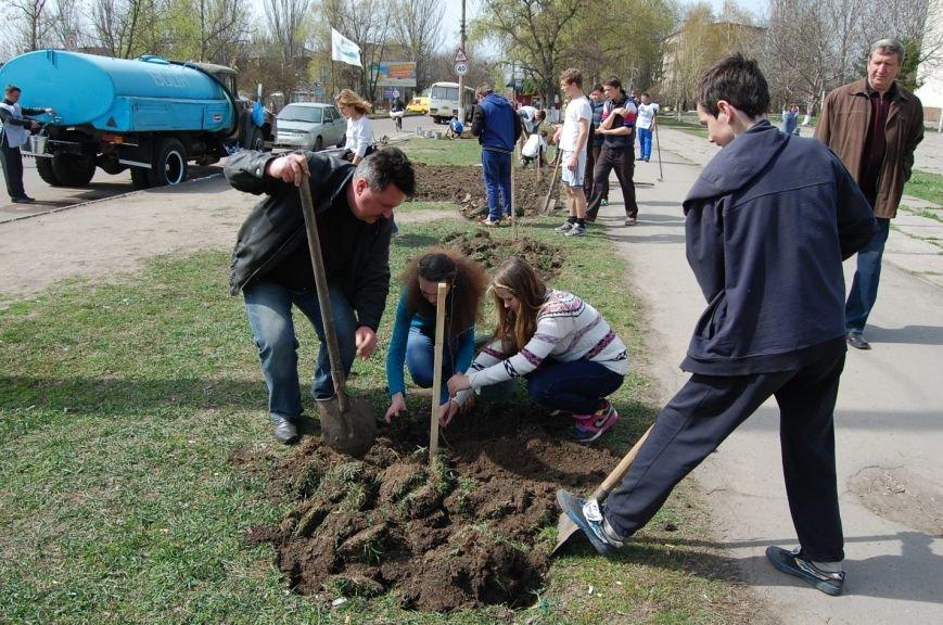 В Первомайске школьники и активисты провели субботник и высадку деревьев (фото) (фото) - фото 3
