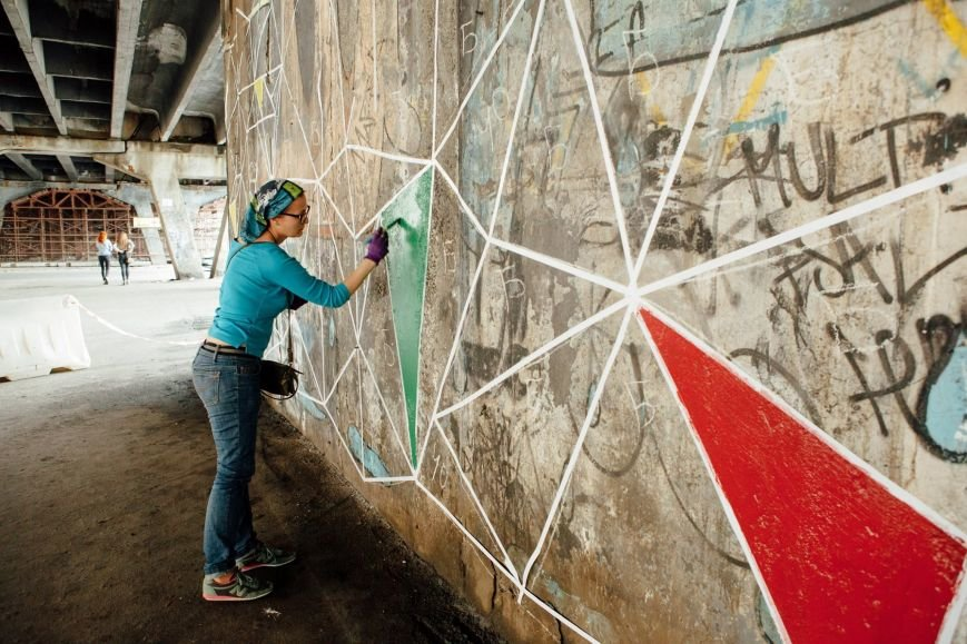 Столичные активисты раскрасили путепровод на Шулявке (ФОТО), фото-3