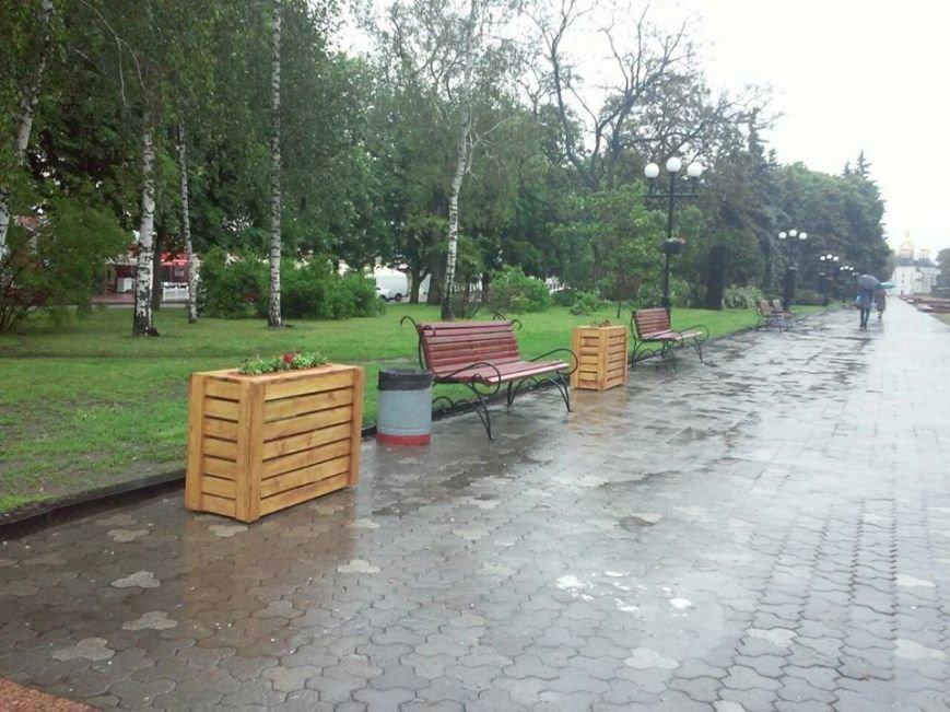 На Аллее героев в Чернигове установили лавочки-клумбы, фото-12