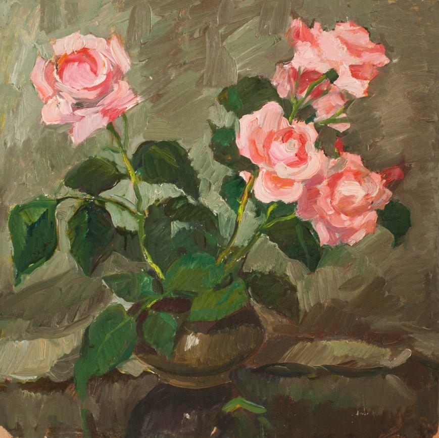 «Этюд  роз» 50х50 (картон, масло)1950г.