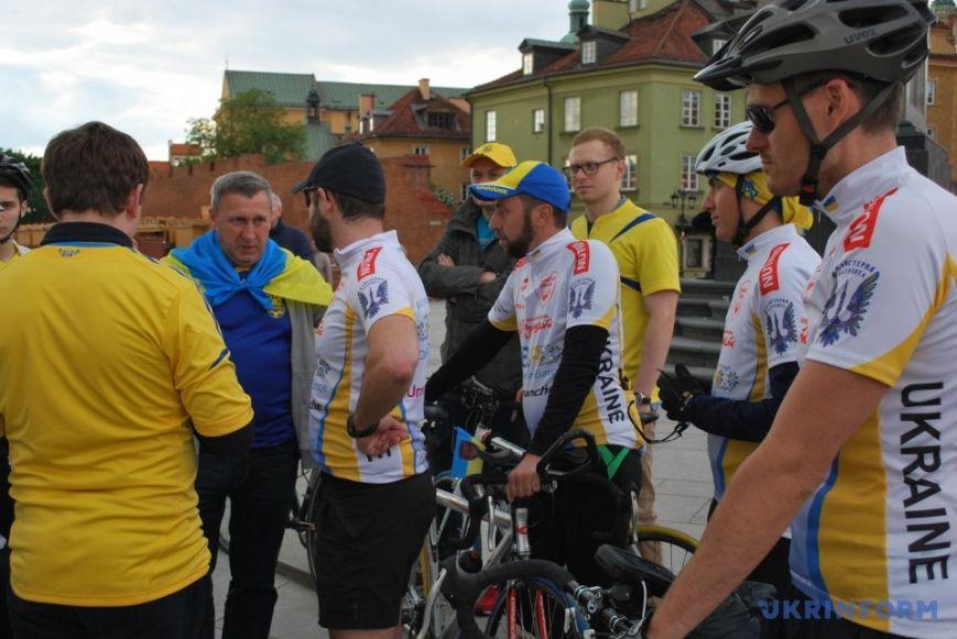 """Как в Варшаве встречали участников велопробега """"Украинцы в Европе"""", организованного жителем Херсонской области (фото), фото-1"""