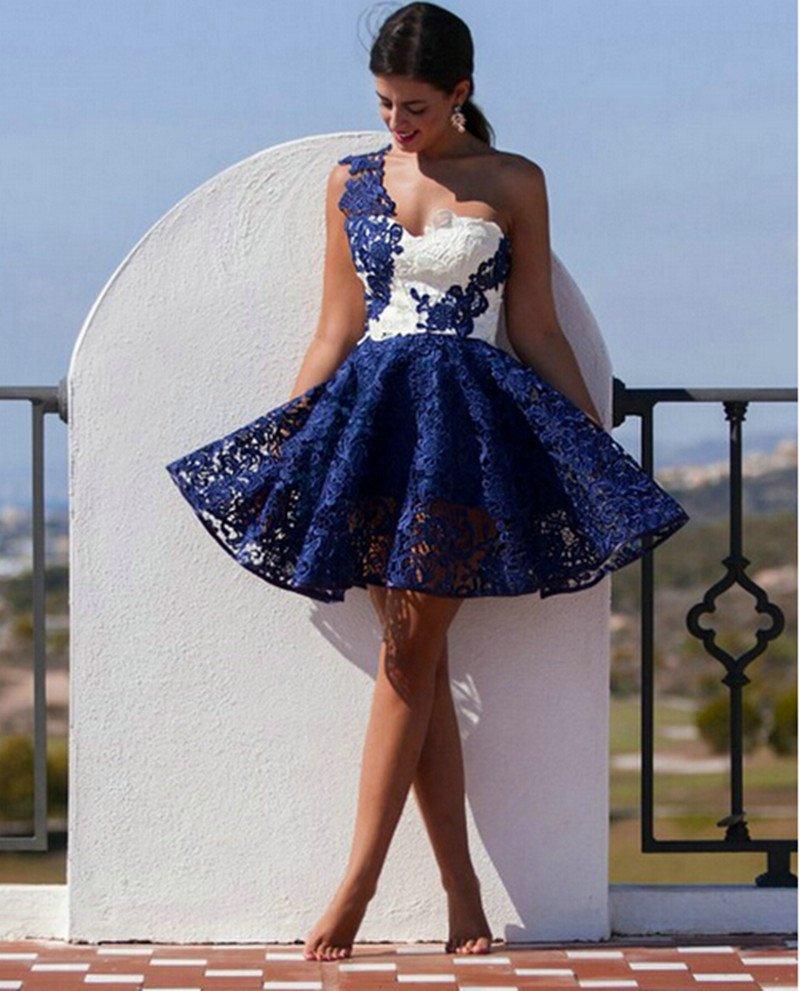 Синий-и-белый-коктейльное-платье-кружева-одно-плечо-8th-Grage-выпускные-платья-2016-Vestido-15-anos