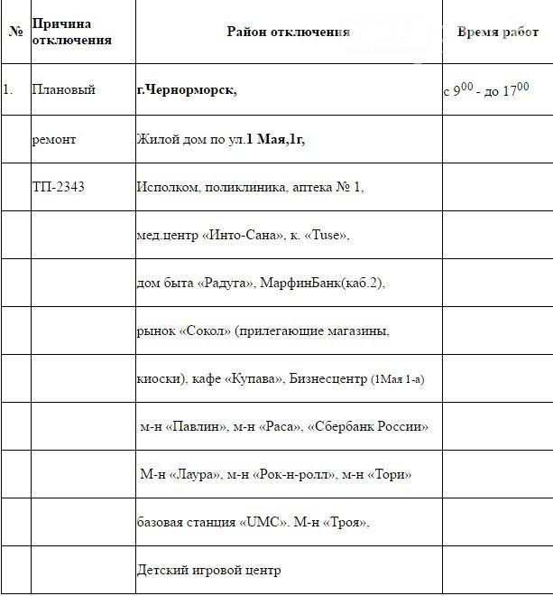Плановое отключение электроэнергии в Черноморске, фото-1