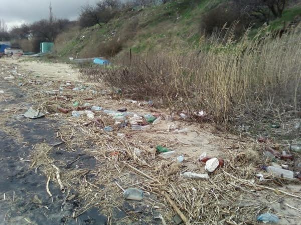 Прибрежная территория мариупольского поселка Песчаный усыпана мусором (Фотофакт), фото-1