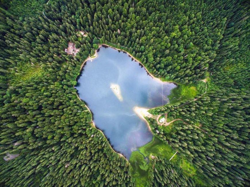 Озеро Синевир з висоти пташиного польоту:фото, фото-1