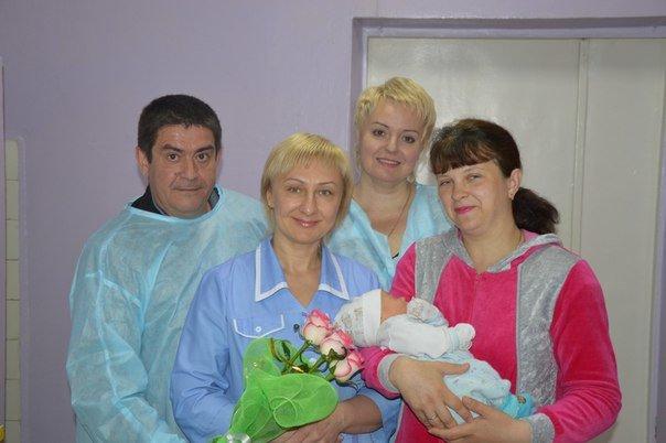 Семья Кострыкиных и новорожденный Семён