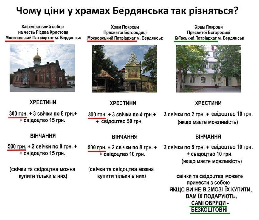 Разница в тарифах на услуги храмов Бердянска  обсуждается в соцсетях, фото-1