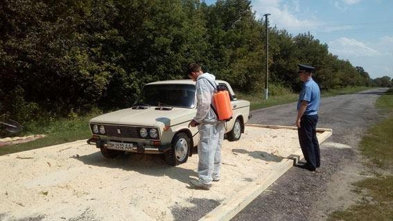 Через карантин на в'їздах в Попівку встановили дизбар'єри та перевіряють машини, фото-1