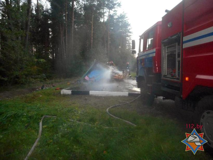 Остановка обрушилась на VW в Бобруйском районе, водитель сгорел заживо, фото-3