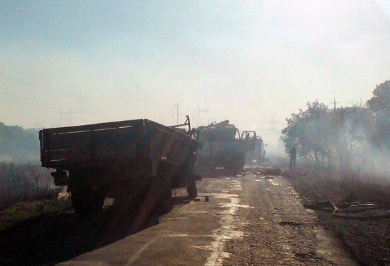 Жуткое ДТП вОреховском районе. 4 машины столкнулись из-за дыма натрассе