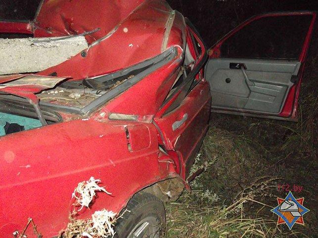 В Быховском районе водитель Mersedess врезался в опору ЛЭП и оказался заблокирован (Фото), фото-2
