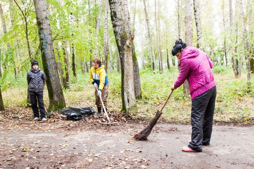 Жители южной части Полевского совместными усилиями прибрали парк, фото-7