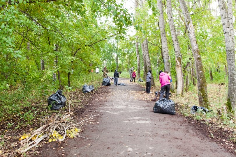 Жители южной части Полевского совместными усилиями прибрали парк, фото-6