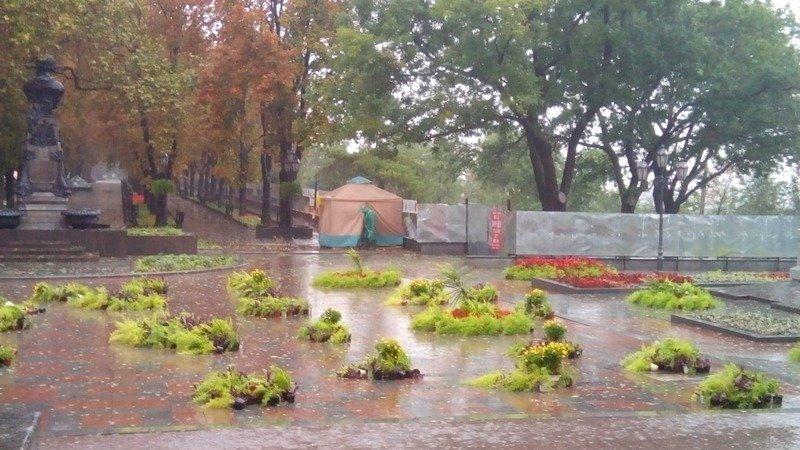 """Антитрухановский майдан в Одессе немного переехал, а """"горшковый майдан"""" разбросал ветер (ФОТО), фото-1"""