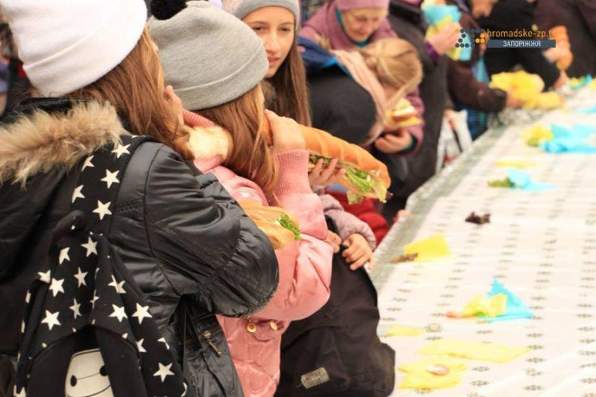 Кошмар диетолога: в Запорожье у фонтана на Маяковского соорудили рекордный бутерброд, - ФОТО, фото-2