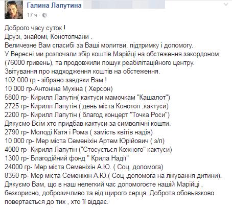 Для Марійки Лапутіної зібрали понад 100 тисяч. грн. Для лікування треба ще стільки, фото-1