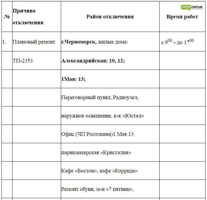 Плановое отключение электроэнергии в Черноморске 26.10.2016, фото-1