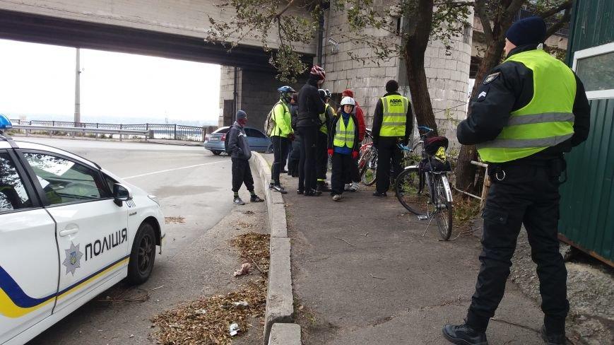 Запорожские велоактивисты заблокировали проезд по мосту Преображенского, - ФОТО, ВИДЕО, фото-10