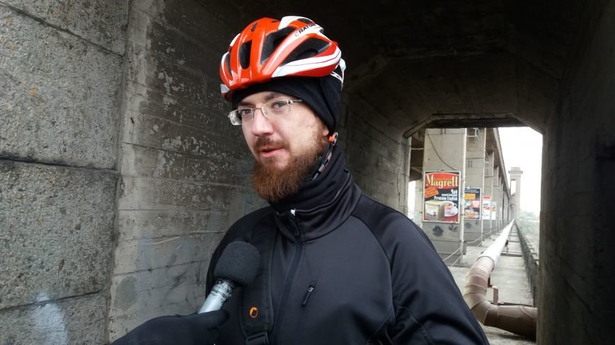 Запорожские велоактивисты заблокировали проезд по мосту Преображенского, - ФОТО, ВИДЕО, фото-8