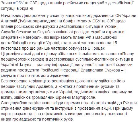 З 14 листопада росіяни задумали масштабну акцію з дестабілізації в Україні. Заява СБУ, фото-1