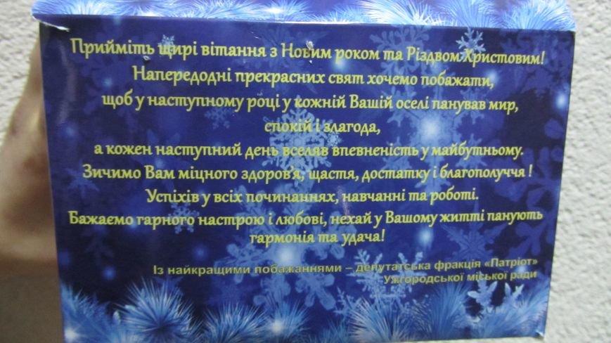 Ужгородські школярі отримали новорічні подарунки із зображенням депутатів: фото, фото-2