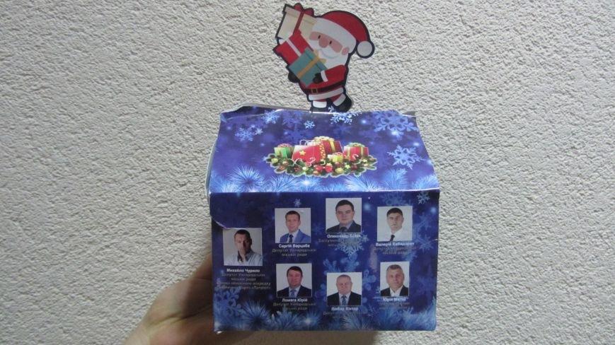 Ужгородські школярі отримали новорічні подарунки із зображенням депутатів: фото, фото-1