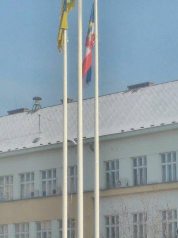В Ужгороді біля облради невідомі повісили сепаратистський прапор Підкарпатської Русі: фото, фото-3