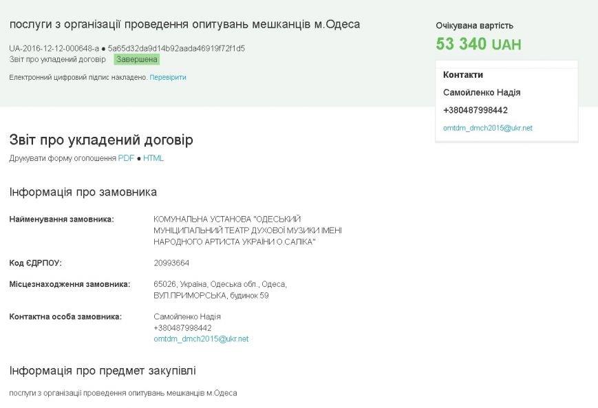 Из бюджета Одессы вытащили 53 тысячи на проведения странного уличного опроса (ДОКУМЕТЫ), фото-1