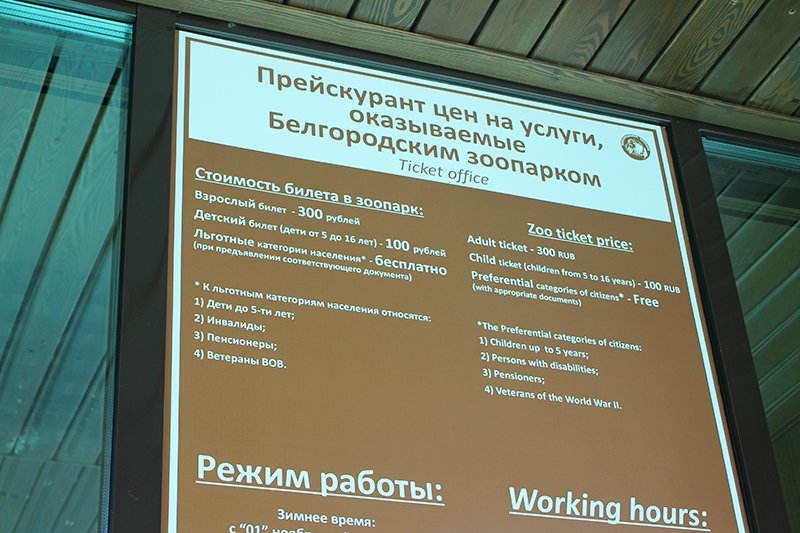 Белгородский зоопарк вдвое повысил цены на билеты, фото-1