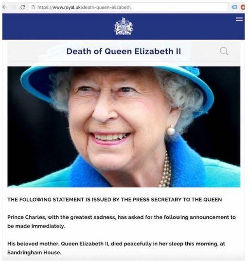 Пользователи соцсетей обсуждают исчезнувшее с сайта королевской семьи сообщение о смерти Елизаветы II, фото-1