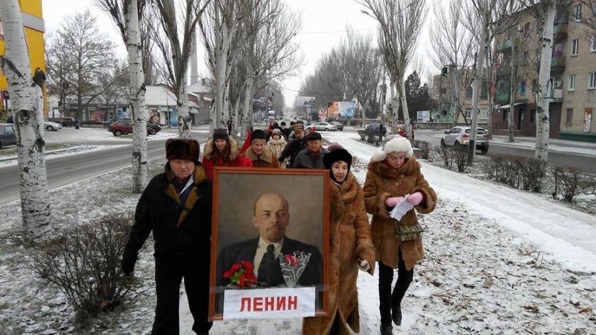 В Мелитополе прошла колонна с портретом Ленина, - ФОТО, фото-4