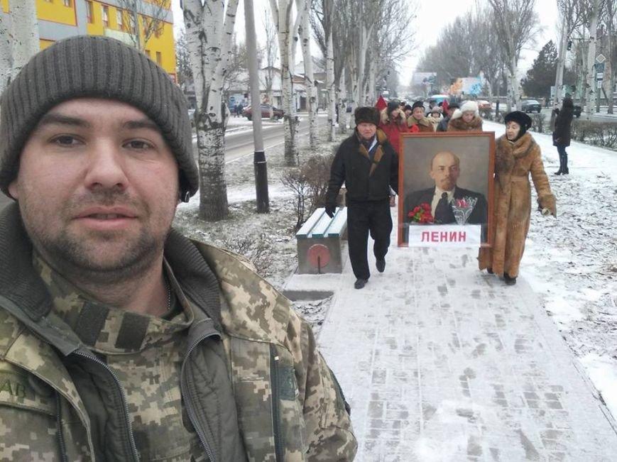 В Мелитополе прошла колонна с портретом Ленина, - ФОТО, фото-1