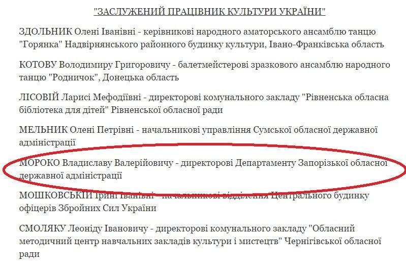 "Президент наградил запорожского ""культурного"" чиновника, фото-1"