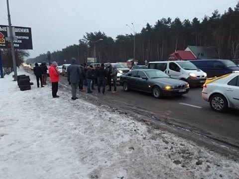 Протести під Києвом: перекривають дороги та палять шини (Фото, Відео), фото-1