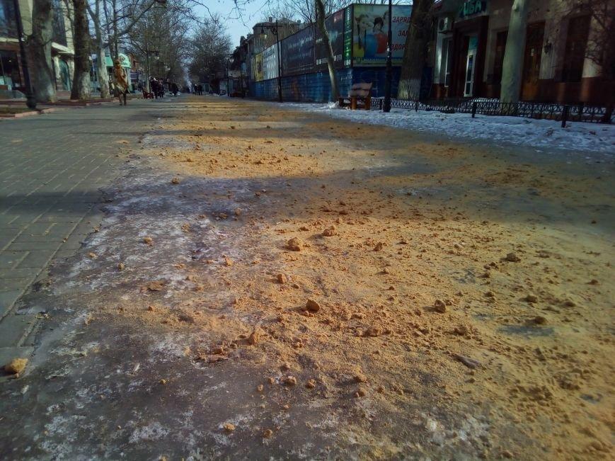 В Херсоне коммунальщики посыпают песком чистые дороги (фото), фото-2