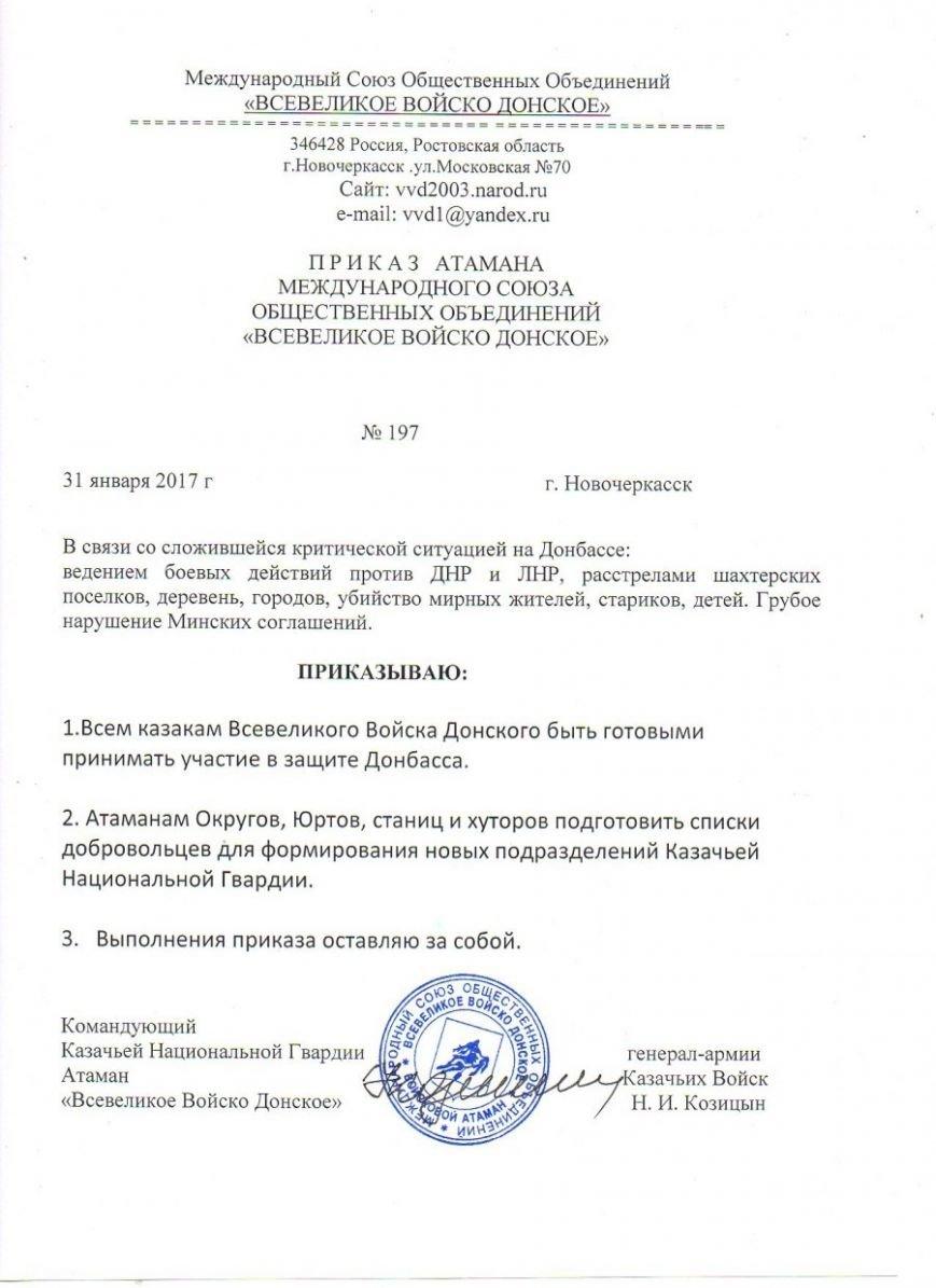Атаман Николай Козицын призвал донских казаков идти добровольцами на Донбасс, фото-1