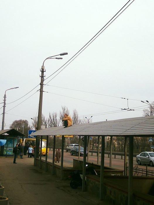 В Киеве мужчина несколько часов просидел на крыше автобусной остановки (ФОТО), фото-1