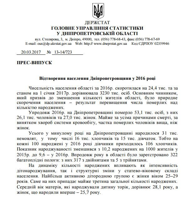 Численность населения Днепропетровщины сократилась почти на 25 тысяч людей (ДОКУМЕНТ), фото-1