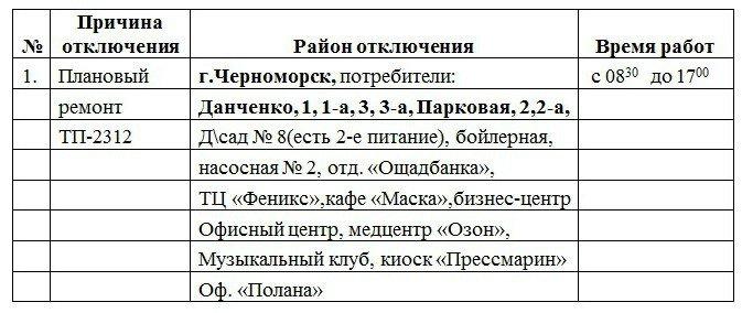 Плановое отключение электроэнергии в Черноморске 29 марта, фото-1