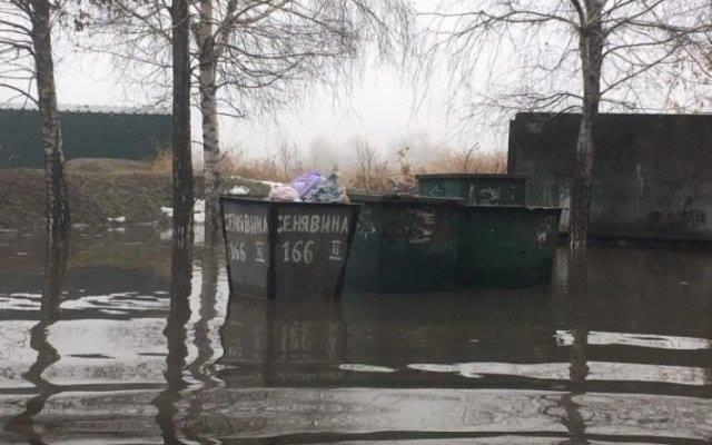 В Херсоне во дворе дома такая лужа, что в ней тонут мусорные контейнеры, фото-1