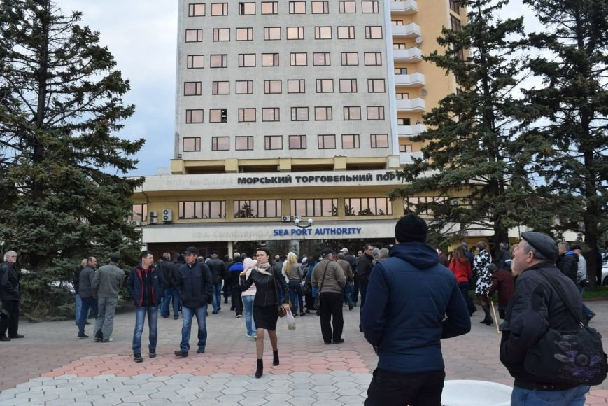 Черноморские портовики вышли на митинг (фото, видео), фото-1