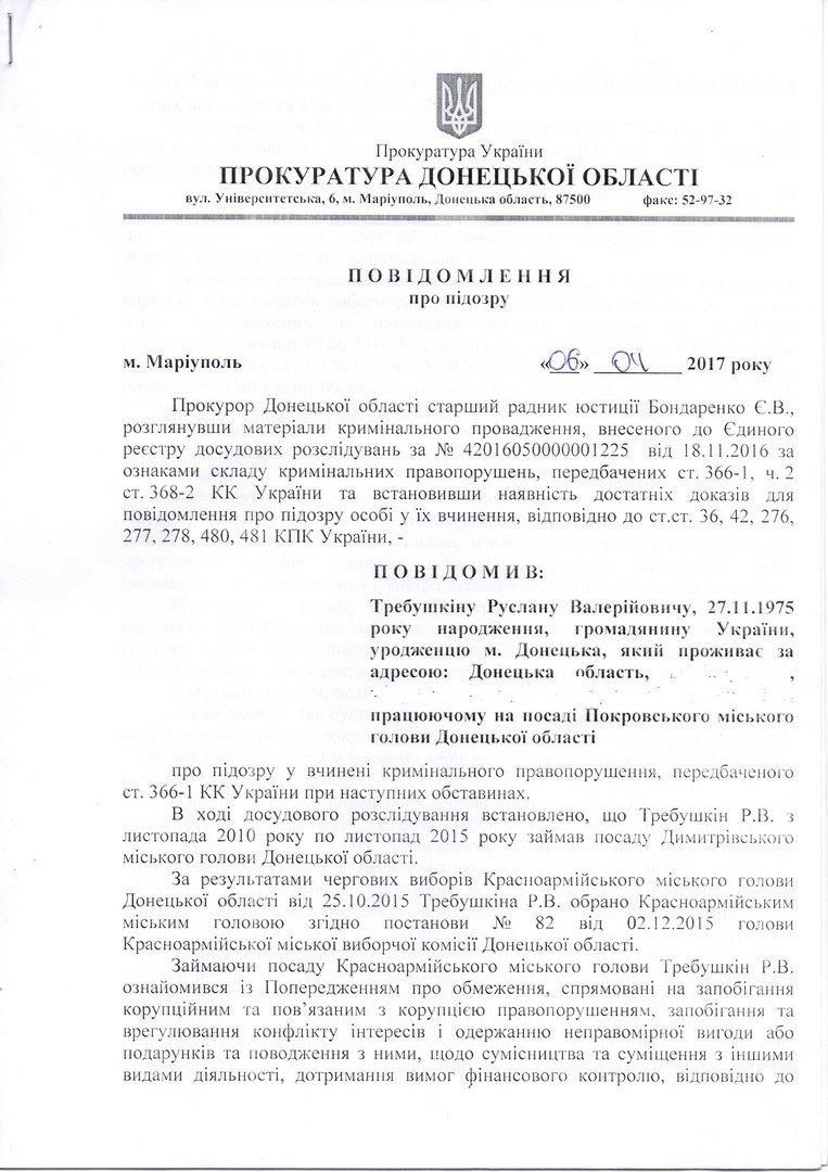 Руслан Требушкин в соцсетях обнародовал текст врученного ему сообщения о подозрении, фото-1