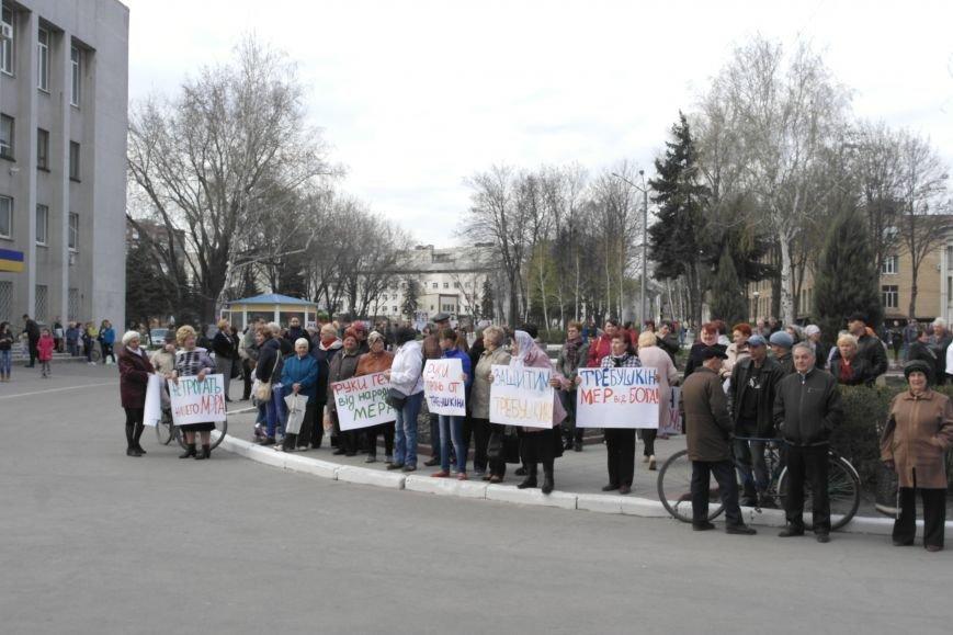 У стен исполкома проходит митинг в поддержку мэра Покровска Руслана Требушкина, фото-1