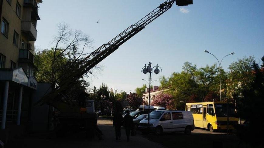 Наплювати на безпеку: як ужгородські електрики міняють лампи на проспекті Свободи, фото-2